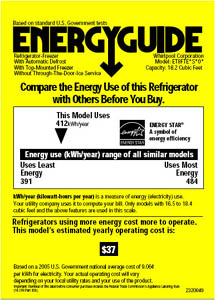 Energy star refrigerator wattage