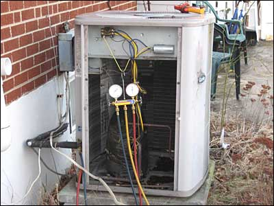 Removing freon from old air conditioner
